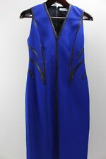 Kimora Lee Simmons Polyester Blend Blue W/ Black Leather Trim Sheath Dress - 2