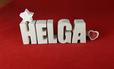 Beton, Steinguss Buchstaben 3D Deko Namen Schrift HELGA als Geschenk verpackt