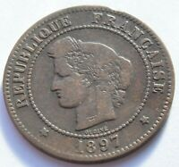 1897.A France CERES 5 CENTIMES coin