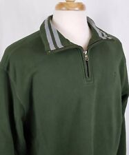 Izod Mens Pullover 1/4 Zip Sweatshirt XL Green Gray Stripe L/S Cotton Blend