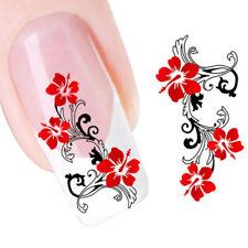 2X Adesivo sticker Red Flowers nail art decorazioni unghie trasferimento acqua