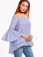 Blue White Striped Off The Shoulder Bell Sleeve Top Shirt Blouse Sz XS S M L