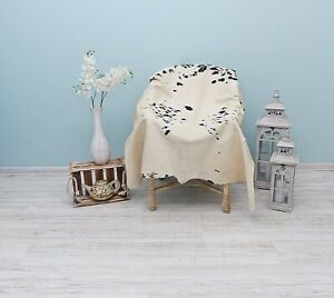 Brown & White Cowhide Rug, Natural Cowhide Bedspread, Real Cowhide Floor Decor,