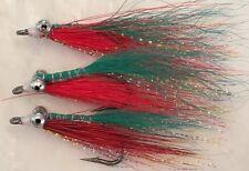 CLOUSER MINNOWS x 5  Saltwater fly fishing flies Lt Green / Red  #2
