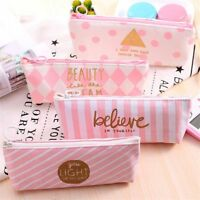 Stripe Dot Bag Pencil Case Pouch Stationery School Office Supplies Canvas Bags