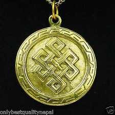 Medallion Buddha Pendant Golden Talisman Made of Brass GOOD-LUCK SYMBOL A88