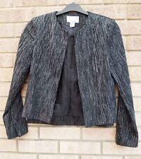 H&M BLACK SILVER GLITTER SPARKLY PADDED SHOULDER SPARKLY BLAZER COAT JACKET 8 S