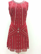 BNWT Gatsby RED Dress Tunic Top Evening 1920's Shift Dress Size 8 10 12 14 16 18