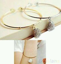 #3021 Women Simple Style Gold Love Heart Rhinestone Pendant Open Bangle Bracelet