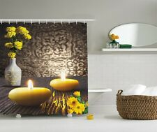 Yellow Marigold Flower Graphic Shower Curtain Spa Candles Rustic Panels Decor