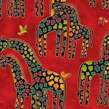 Mythical Jungle Giraffe Toile Y2136-4M Rust Red w/Metallic by Laurel Burch BTY