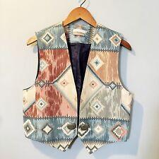 COLDWATER CREEK Southwest Navajo Chimayo Vest Lightweight Cotton Cabochon SZ M