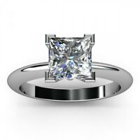 1ct Princess Cut Diamond Bezel Solitaire Engagement Ring 14k White Gold Finish