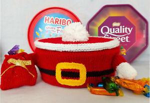 KNITTING PATTERN DK Santa Christmas Chocolate Sweet Tub Tin Cover Lid Sack Xmas