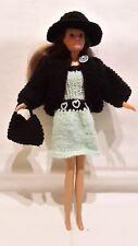 Puppenkleidung passend für Barbiepuppe Kleid,Jacke,Tasche, Hut, Handarbeit 6305