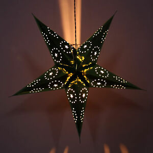 Festive Paper Star Pattern Lantern Star Decorative Hanging Christmas Lamp Light