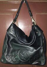 VERSACE Solid Black Soft Nappa Leather Medusa Head Front Snap Large  Shoulder Bag d281849fb63f9