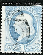 US 1870 1¢ ULTRAMARINE FRANKLIN NO GRILL UNG P12 FINE #1