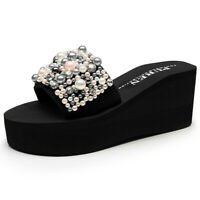 Ladies  Platform Slide Sandals Pearl Casual Non-Slip Wedges Beach Slippers