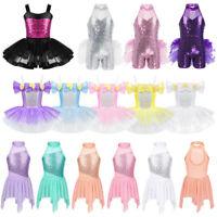 Girls Ballet Latin Sequins Leotard Dance Dress Jazz Tutu Skirt Dancewear Costume