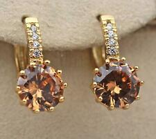 18K Gold Filled - 9mm Round Morganite Topaz Flower Zircon Hoop Women Earrings DS
