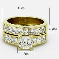 Square Princess CZ Stainless Steel Gold GP Wedding Engagement 2 PC Ring Set