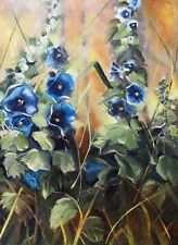 "SUPERB ORIGINAL ELIZABETH WILLIAMS ""Hollyhock Poetry"" Flower Still Life PAINTING"