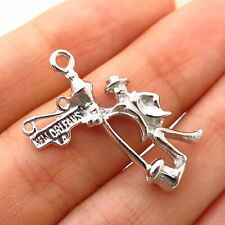 """18/"""" Box Chain Sterling Silver Man Leaning in New Orleans Light Post 3D Charm"""