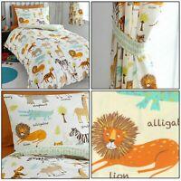 My Safari Kids Animal Print Reversible Duvet Quilt Cover Set Bedding Range Multi