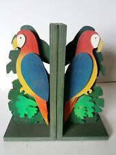 Wooden bookends (large) - Parrots