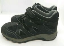 MERRELL Boys Hilltop Quick Close Black Mid Hiking Boot Waterproof Mesh Sz 3.5