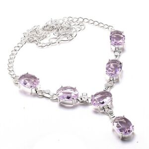 "A+++Pink Kunzite Gemstone Handmade 925 Sterling Silver Jewelry Necklaces Sz 18"""
