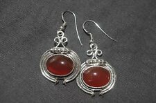 Sun Queen Carnelian dangle sterling silver earrings by artisan Neeru Goel
