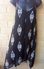 Charming Charlie Black & White Printed Strappy Lined Dress Sz S