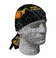 Black Orange Grey Snake Oil Doo Rag Head Wrap Cap Biker Durag Sweatband Capsmith