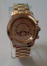 Gold finish designer inspired style fashion Geneva link watch