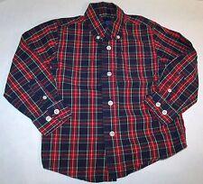 J Khaki Red Blue Green White Plaid Button Down Preppy Dress Shirt Size 4T C-2