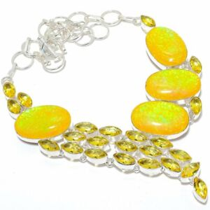 """Yellow Triplet Fire Opal, Citrine Silver Jewelry Necklace 18"""" MQR-2861"""