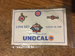 CHICAGO CUBS UNOCAL PIN SET AUGUST 28, 1989 3 PINS SET / REAL PICS / WRONGWAY05
