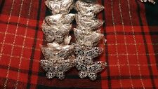 LOT 10 PCS. RHINESTONE  BUTTERFLY BROOCHES SILVER  AND BLUE STONE COLORS METAL