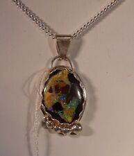 HANDMADE BOULDER OPAL PENDANT PURPLE, GREEN & BLUE SET IN STERLING SILVER/CHAIN