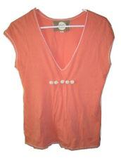 Women's Chelsea & Violet Orange T Tee Shirt Top Crochet Details Size S Small