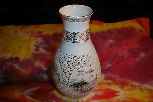 """Vintage Cut Porcelain VASE Beautiful Cut Out Design 6 1/2"""" Signed """"W"""""""