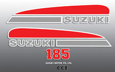SUZUKI 1974 TS185 RED SILVER TANK SIDE COVER DECALS GRAPHICS