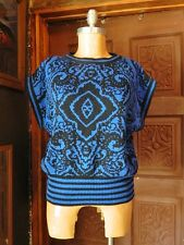 VTG TAMARON Womens Paisley Print Blue Black Cap Sleeve Knit Sweater Top Large
