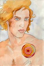 ORIGINAL LARGE MALE Portrait ,Watercolor - RAPHAEL - by GERMANIA