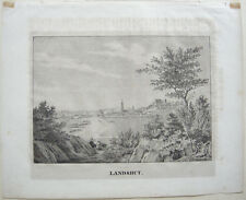 Landshut Gesamtansicht Trausnitz Orig Lithographie Dilger 1820 Niederbayern