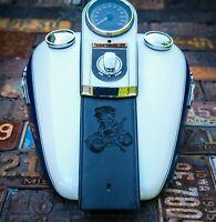 Betty Boop Chopper Harley Davidson Leather Fuel Gas Tank Panel Bib  Softail Dyna