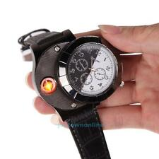 Men Casual Wrist Watch with USB Windproof Flameless Cigarette Lighter Black