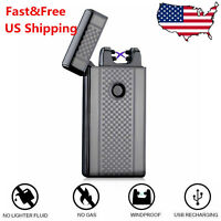 USB Electric Dual Arc Flameless Torch Rechargeable Windproof Lighter Cigarette